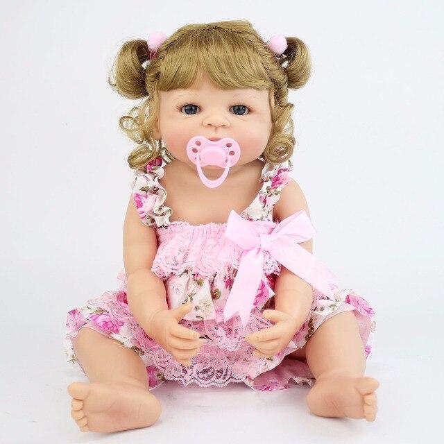 55 cm Realista Cheio de Silicone Boneca Reborn Vinil Princesa Presente de Aniversário Meninas Brincar de Casinha de Brinquedo Bebê Recém-nascido Bebe Vivo Se Banhar brinquedo