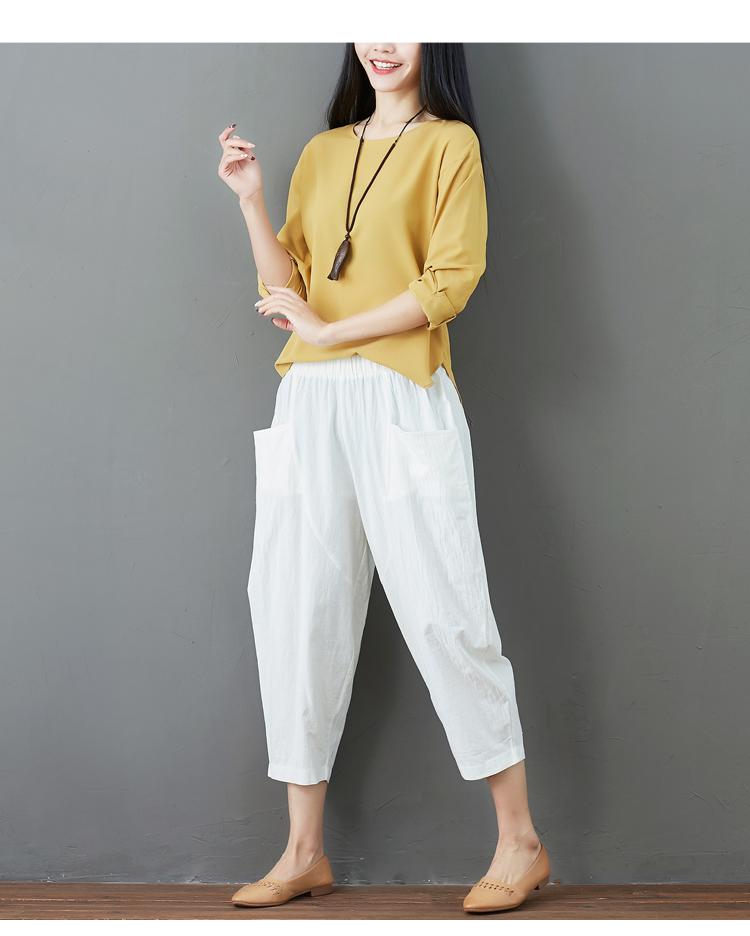 Summer Elastic Waist Cotton Linen Pocket Harem Pant Vintage Loose Mori Girl Oversized Home Tracksuit Plus Size Trouser Workout 45