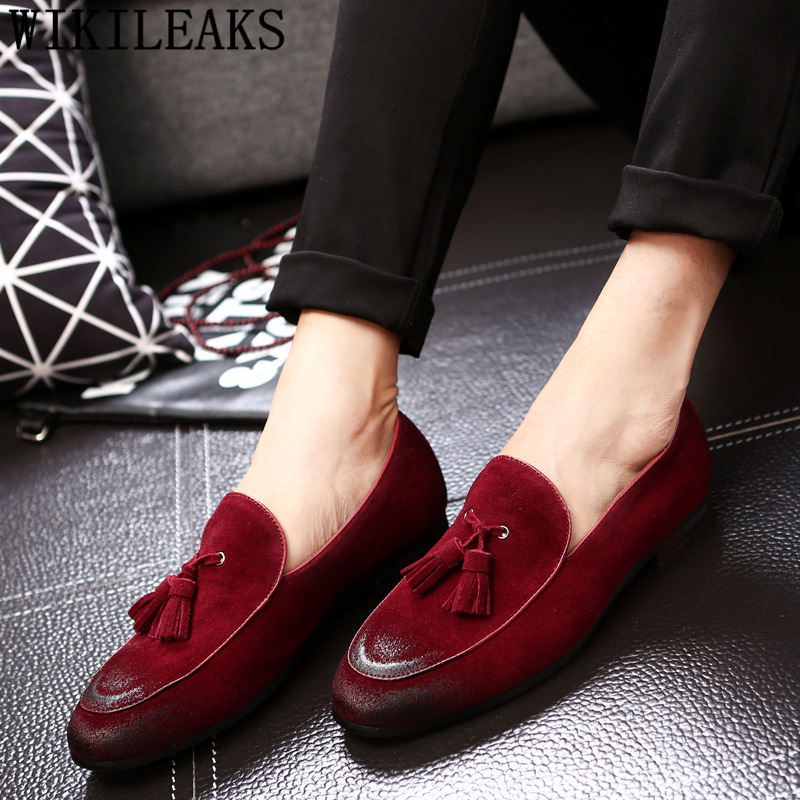 Suede   genuine   leather   shoes men formal tassel loafers mens dress shoes men suit office elegant shoes men wedding mocassin homme