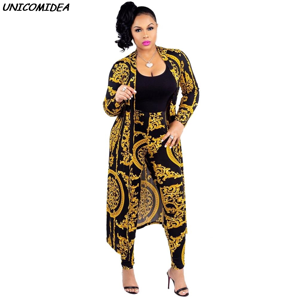 Euramerican Gold Chain Flower Women Sets Two Piece Pencil Pants Long Coat Jacket Suits 2pcs Sets Outfit Streetwear Robe Overcoat