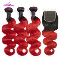 Али Коко бразильские волнистые 3/4 пучков с закрытием 1B/красный цвет 100% 10 28 дюймов Remy человеческие волосы переплетения пучки с закрытием