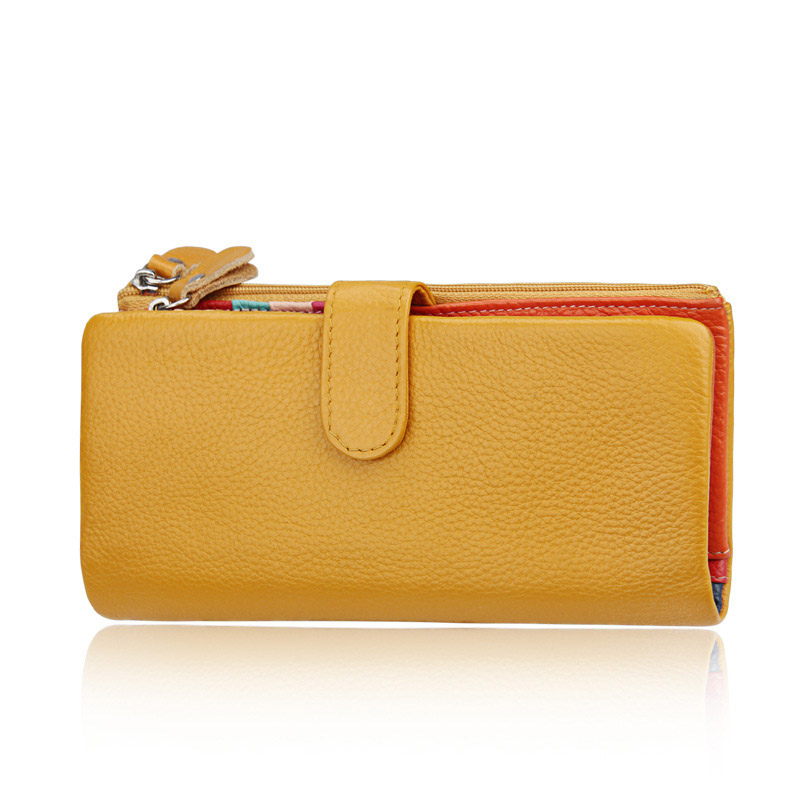 Fashion Hot Sale Women Clutch New Wallet Cowhide Leather Wallet Female Long Wallet Women Hasp Purse Coin Purse For iPhone