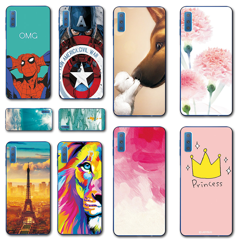 Unique iron Man Design Phone Case For Samsung Galaxy A7 2018 Starry Sky Silicone For Samsung A7 2018 Cover SM-A750F <font><b>A72018</b></font> 6.0