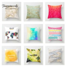 Fuwatacchi Oil Painting Cushion Cover World Map   Soft Throw Pillow Cover Decorative Sofa Pillow Case Pillowcase retro world map pattern flax square shape pillowcase without pillow inner