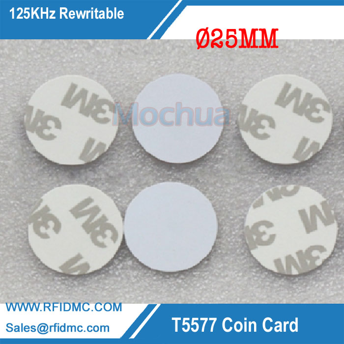125KHz T5577 Round Tag PVC With Self-adhesive Rewritable Adhesive Coin Cards For Copy Key