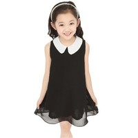 Summer Chiffon Dress 2014 Girl Dress New Free Shipping For 3 11 Age Bow Floral Girls