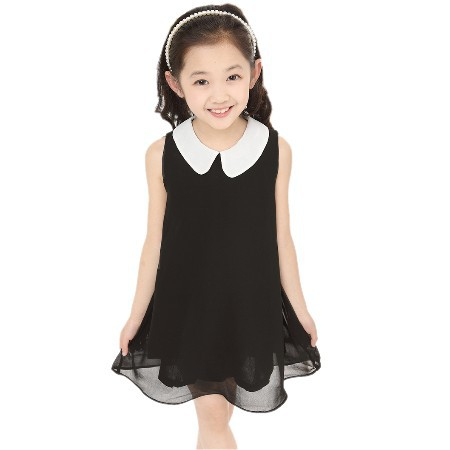 Vestido de chifón de verano nuevo vestido de niña envío gratis para 3-11 años arco floral niñas princesa fiesta arco niños vestido Formal 23