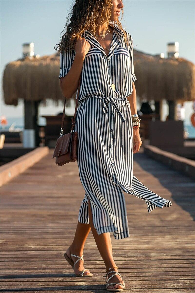 19 Turn Down Collar Office Ladies Stripe Shirt Dress Long Boho Beach Dress Casual Long Sleeve Elegant Party Dress Vestidos 9