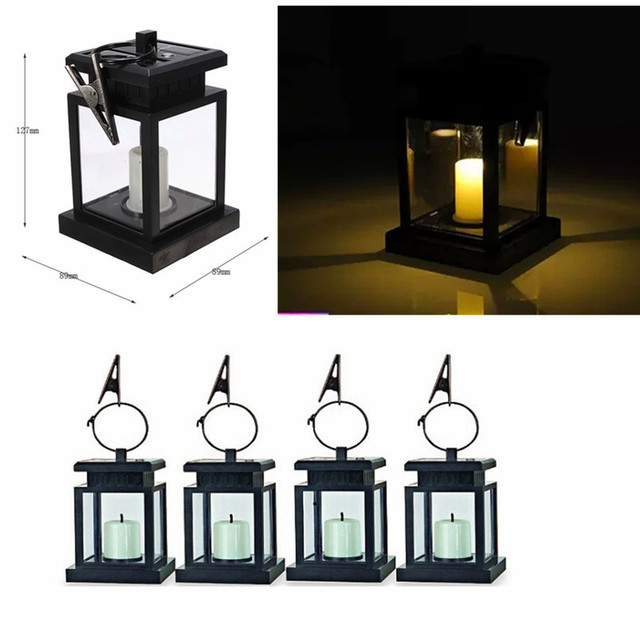 6x Outdoor Solar Le Yellow Led Candle Light Yard Garden Decoration Umbrella Tree Lantern