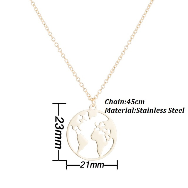 Shuangshuo Vintage Origami World Map Necklace Women Geometric Necklace Round Necklace Circle Necklaces & Pendants Choker Jewelry 1