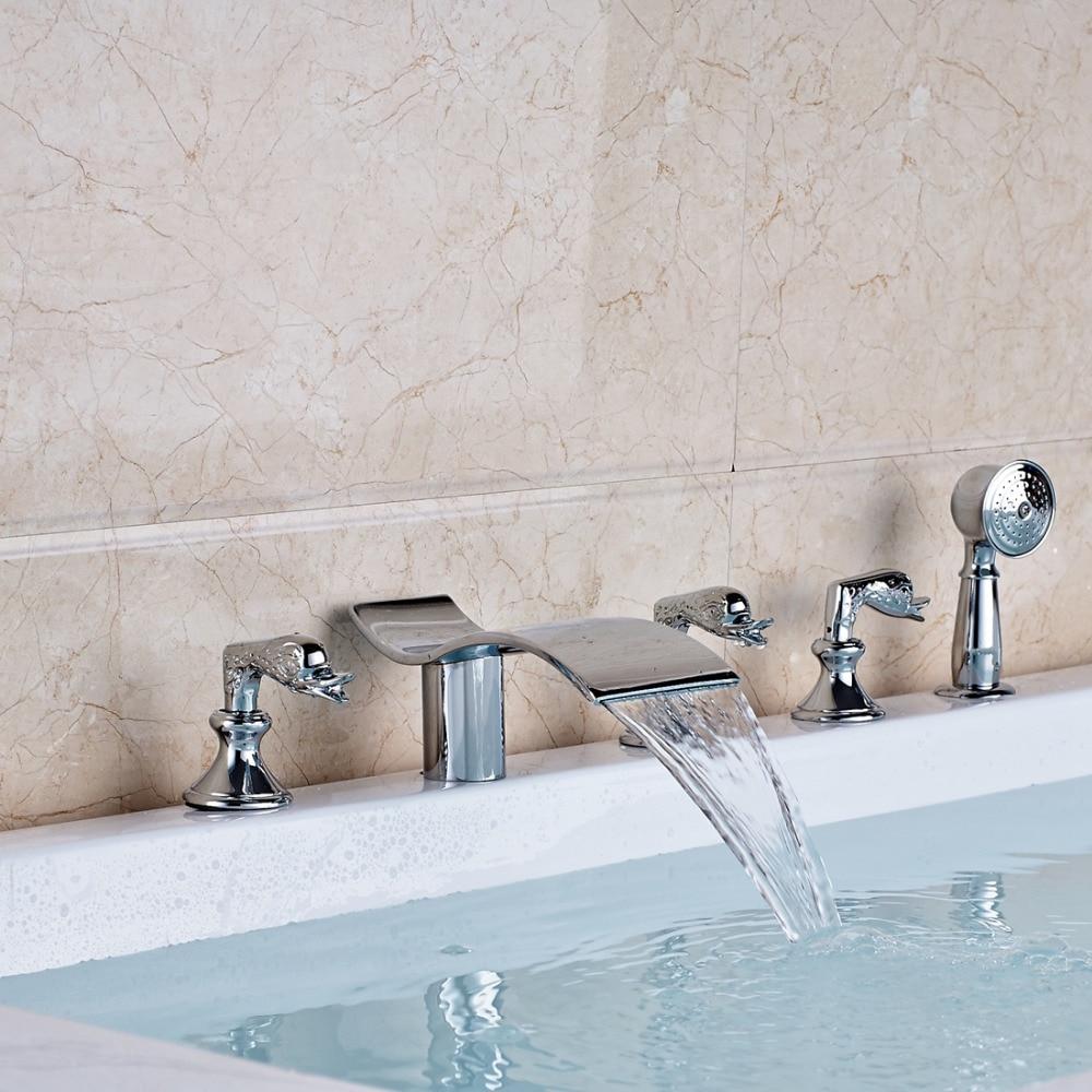 Modern Chrome 3 Swan Handles Bathtub Faucet Deck Mount Tub Mixer Tap+Hand Shower