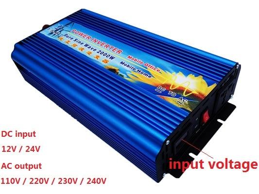 free shipping high quality 2000W Pure sine wave inverter 12/24VDC to 110/220V AC digital display peak power 4000W inverter