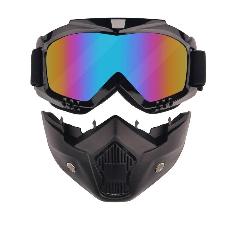 Motorrad Motorrad Retro Vintage Helm Filter Maske Moto Halb Helm Abnehmbare Brille Glas Und Mund Filter masken
