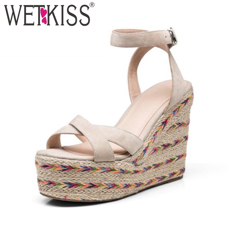 WETKISS High Heels Women Sandals Summer Gladiator Straw Weave Platform Ladies Shoes Open Toe Wedges Buckle Kid Suede Footwear e toy word summer platform wedges women sandals antiskid high heels shoes string beads open toe female slippers