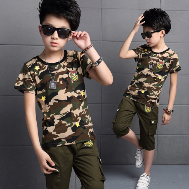 8a8c75c42 2016 Summer New Big Boys Children's Clothing Sets ( Tee + Pants) Kids  Printed Camouflage T-Shirts Army Green Knee-Length Capris