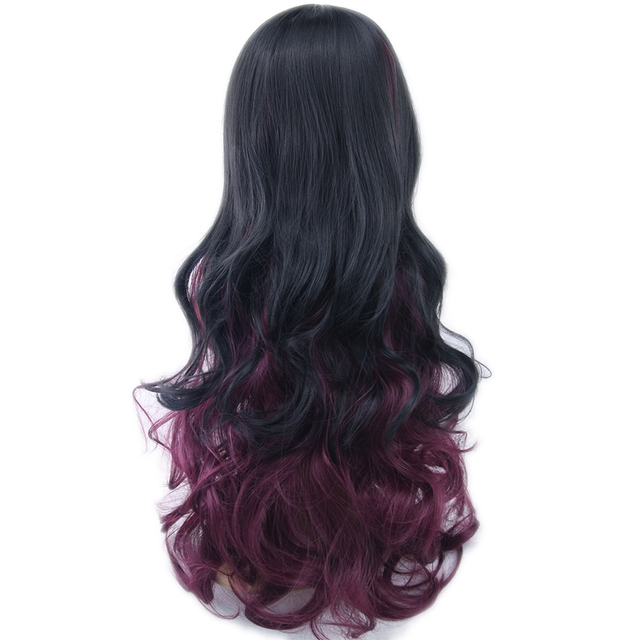 Soowee 13 Warna Wanita Rambut Ombre Warna Rambut Sintetis Serat Suhu Tinggi Wig Hitam untuk