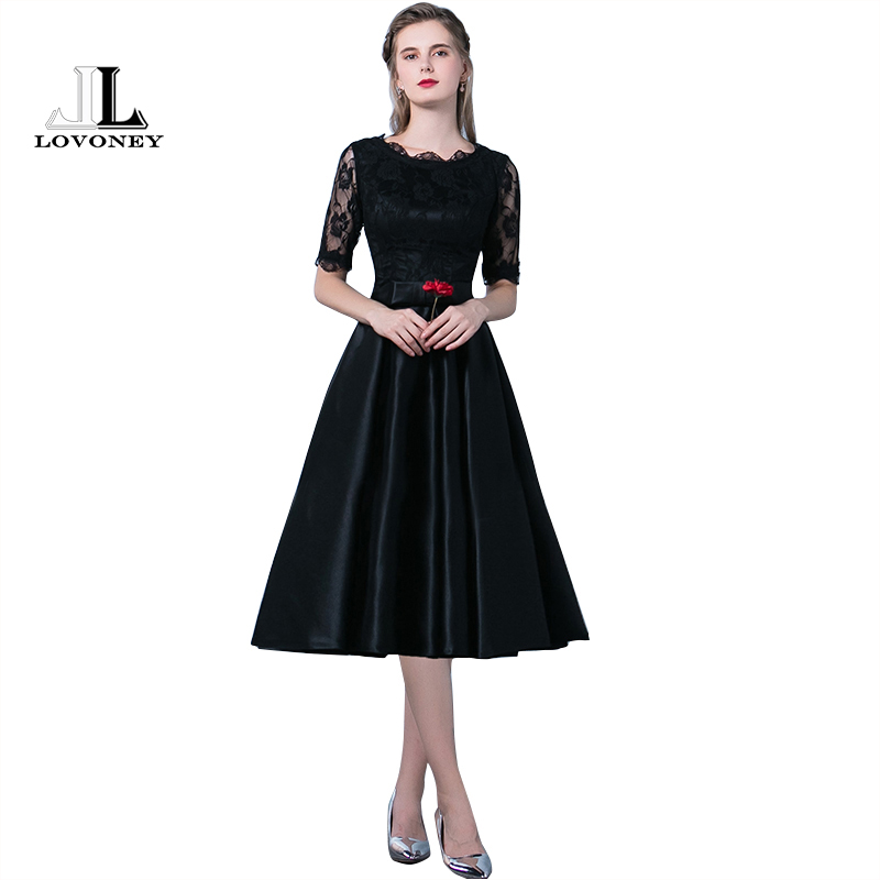 LOVONEY YM301 Prom Dresses 2019 New Arrival A Line Half Sleeve Satin Lace Black Formal Party Dresses Prom Gown Occasion Party