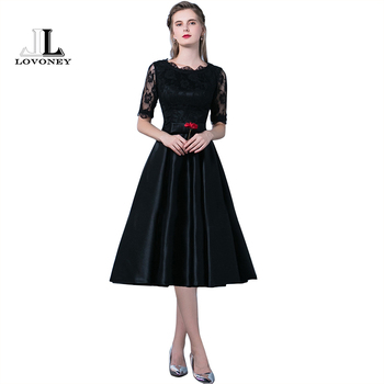 LOVONEY YM301 Prom Dresses 2019 New Arrival A Line Half Sleeve Satin Lace Black Formal Party Dresses Prom Gown Occasion Party Prom Dresses