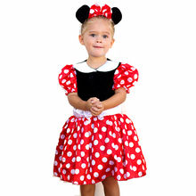 New Minnie Mouse Dress girls clothes Print Cosplay for Halloween Costume Clothes Party Dresses with headwear free shipping