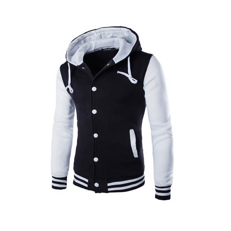 Mens Hoodie Baseball Jacket Men 2018 Fashion Design Black Mens Slim