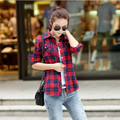 plus-size M-XXL 2017 COTTON Plaid spring and autumn style new fashion women tops full sleeve ladies  polo AU0022