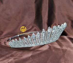 Image 4 - Awesome Miss Beauty Pageant Tiara Crown Clear Crystals Brides Headband Hair Accessory Wedding Bridal Prom Party Costumes 318g