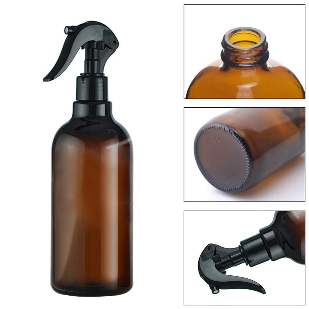 HOT New Arrival 500ML Brown + Black Plastic Spray Bottle Trigger Sprayer Essential Oil Perfume Container Refillable Bottles