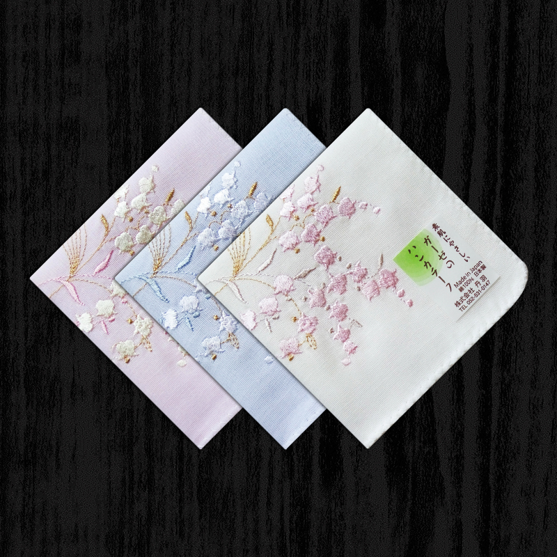 Women's Handkerchiefs Cotton Gauze Sweat-absorbent Female Handkerchief Single-sided Embroidery Cotton Double Thick Section