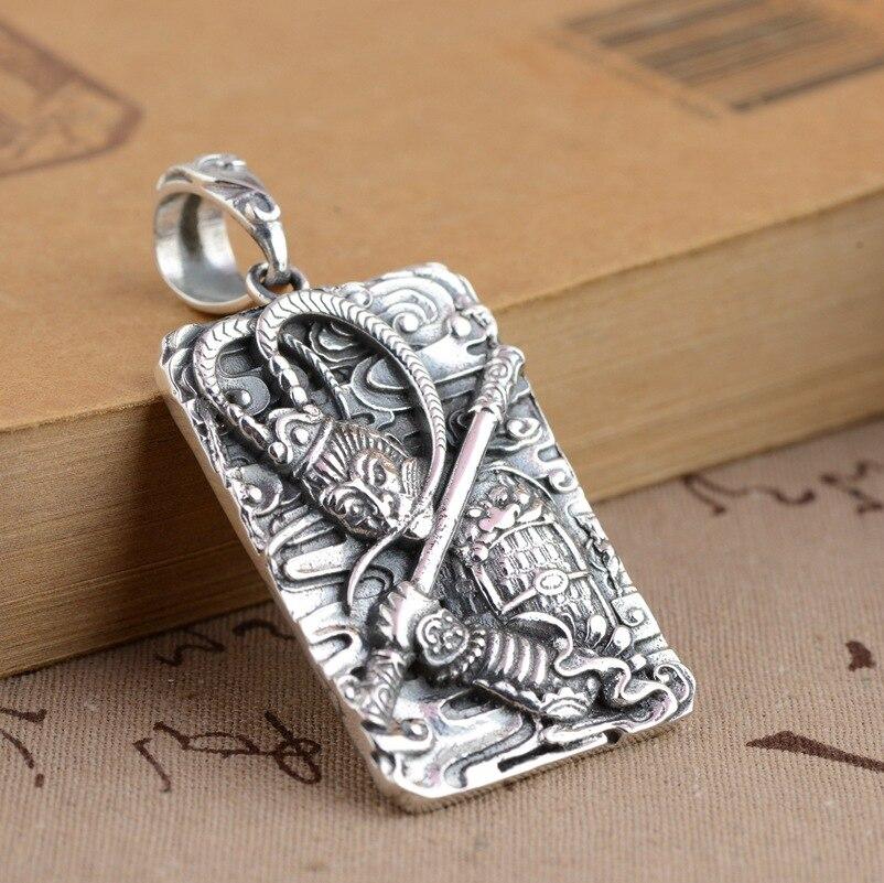 Cerf roi S925 pendentif en argent Sterling bijoux en argent processus de combat sur le bouddha soleil Wukong pendentif nouveau