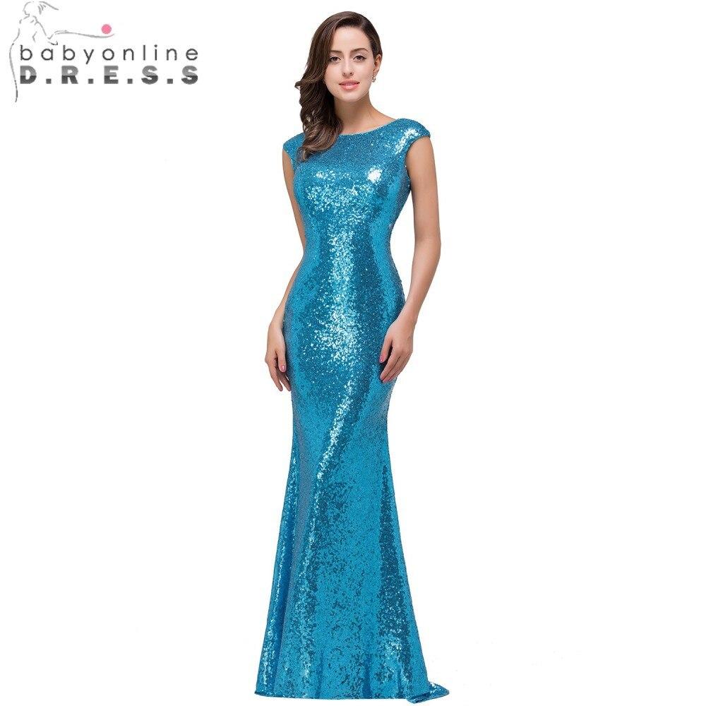 Babyonline Blue Sequin Mermaid Prom Dresses Long 2017 Formal Dress ...