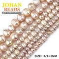 Irregular Rodada Roxo pérolas pérolas de Alta qualidade Pérolas Naturais de Pedra Solta beads 6/8/11 MM pulseira de pérolas para fazer jóias DIY
