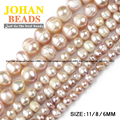 Irregular Round Purple pearls beads High quality Natural Pearls Stone Loose beads 6/8/11MM bracelet beads for jewelry making DIY