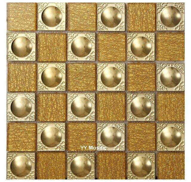 Moderne 3D Gold Metall Kristall Weiß Glas Mosaik Fliesen, Küche Backsplash  Dusche Badezimmer Wand