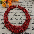 JINSE Stone Fluorite Stone Garnet Coral Opal 5 Layers Chip Beads Necklace Natural Stone Necklace BLS104