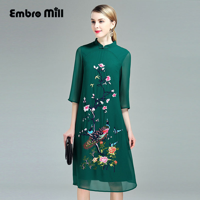 c16359693f0 Chinese traditional clothing women green Qipao dress 2017 summer vintage  royal floral embroidery elegant lady cheongsam M-4XL