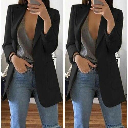 Женский винтажный блейзер с длинным рукавом, облегающий формальный Длинный блейзер с карманами на весну и осень, однотонная куртка, повседн...