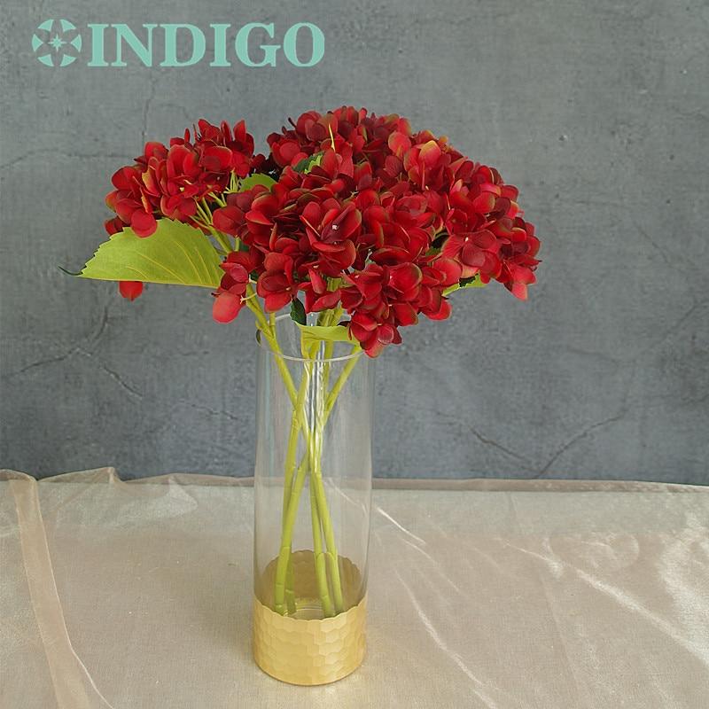 INDIGO- 5 unids Hortensia Roja Con Hojas Flor Hydrange Hermosa Flor - Para fiestas y celebraciones - foto 1