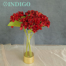 INDIGO- 5pcs Red Hydrangea With Leaves Flower Hydrange Beautiful Wedding Floral Event Party Table Free Shipping