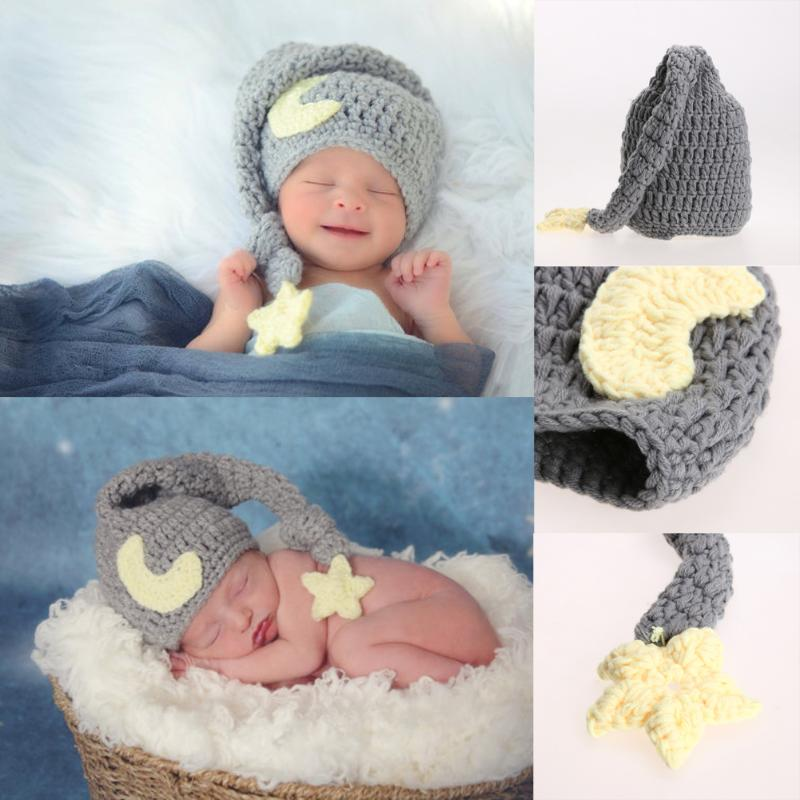Newborn Photography Props Baby Crochet Knitted Soft Hat Beanie Girls Boys Handmade Cap Infant Photo Props Accessories 0-4 Months