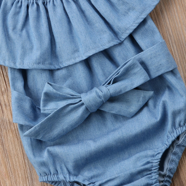 Baby Girl Light Blue Ruffles Denim Romper with Headband set