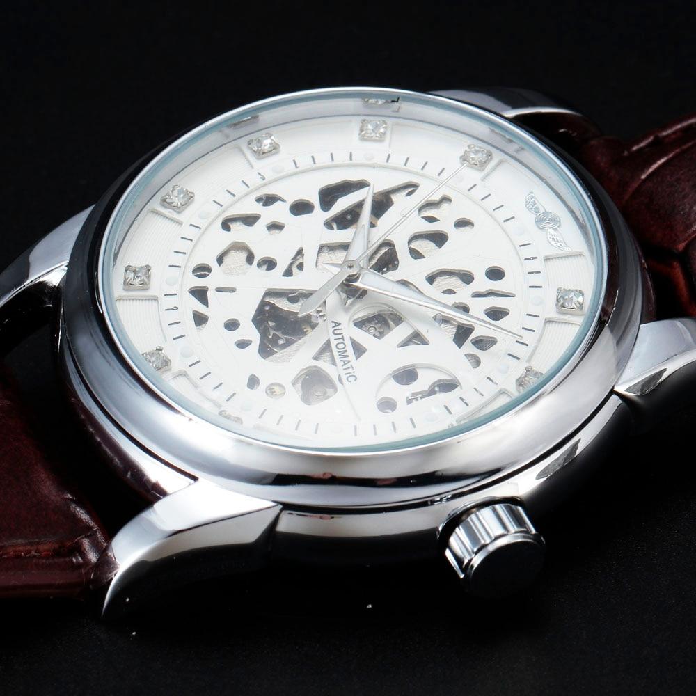 fca47b6080f Vencedor Royal Design Diamante Branco de Prata Assista Montre Homme Mens  Relógios Top Marca de Luxo Relogio Masculino Relógio Mecânico Esqueleto em  Relógios ...