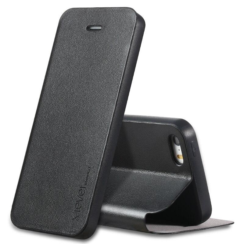 imágenes para Para el iphone 5 Caso Ultra Delgado Caso Del Tirón de Lujo Para el iphone 5 SO iPhone 5S Caso TPU + PU de Cuero Libro Cubierta de Protección Completa Coque