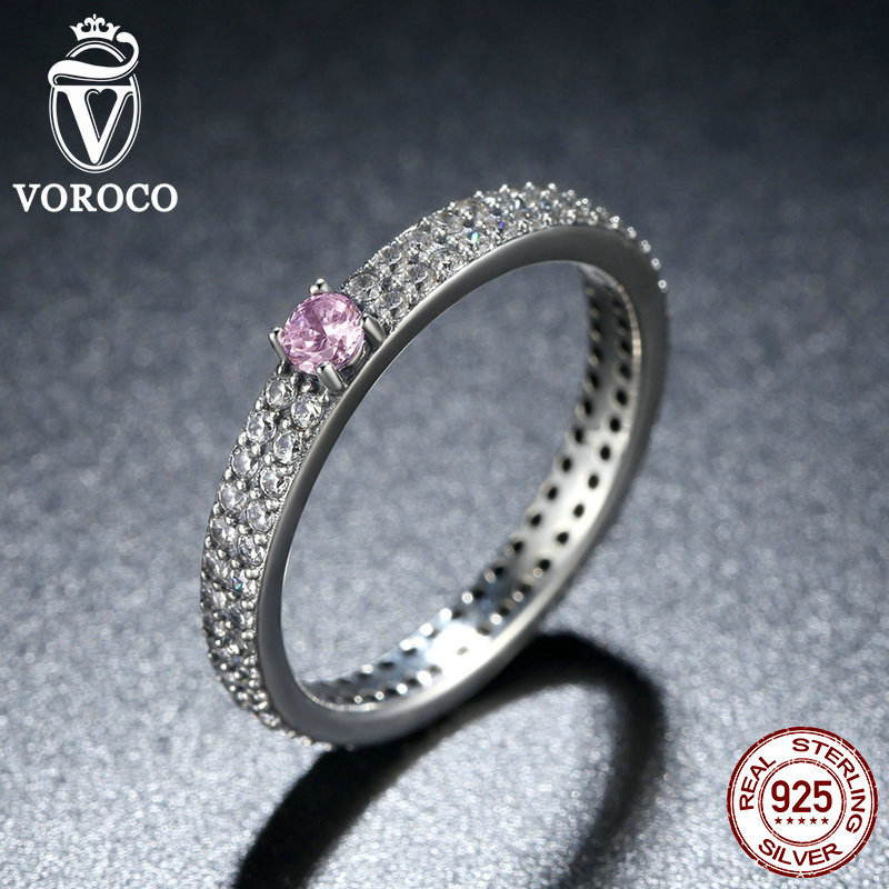VOROCO 925 Sterling Silver Pink Stone with Small Crystals Finger Ring for Women Fashion Engagement Jewelry