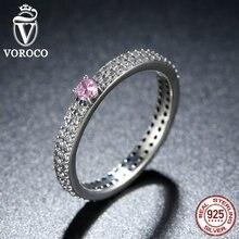 VOROCO 925 Sterling Silver Pink Piedra con Pequeños Cristales Manera Del Anillo de Dedo para Las Mujeres de Compromiso Joyería R003
