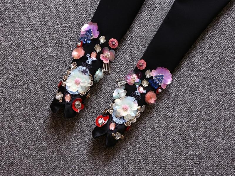 Casual Stretch Femmes Automne 2017 Denim Pantalon Diamant Ceinture Perles New Black Taille Crayon Printemps Avec Cheville Mi De Longueur Noir vEqwR0q5