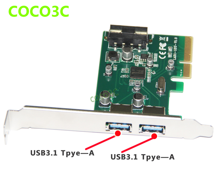 Superspeed 10Gbps 2 ports USB 3.1 Type-A PCI-e Controller Card  PCI Express 4x to USB3.1 Converter Adapter