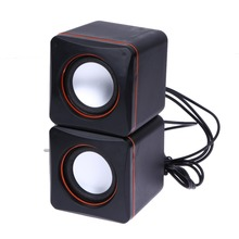 USB DC 5V 3.5mm Audio Interface Stereo Mini PC Speaker Subwoofer Black For Desktop Laptop Notebook Tablet