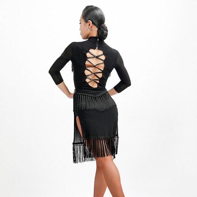 ffe1a9503b02 black latin dance costume red tassel latin dress women latin competition dress  dance wear latin salsa dress dancing clothes