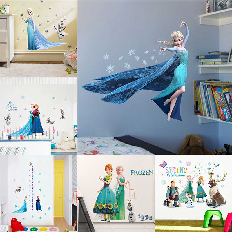 Cartoon Elsa Anna Princess Wall Stickers For Girls Room Home Decoration DIY Anime Mural Art Frozen Movie Poster Kids Wall Decals