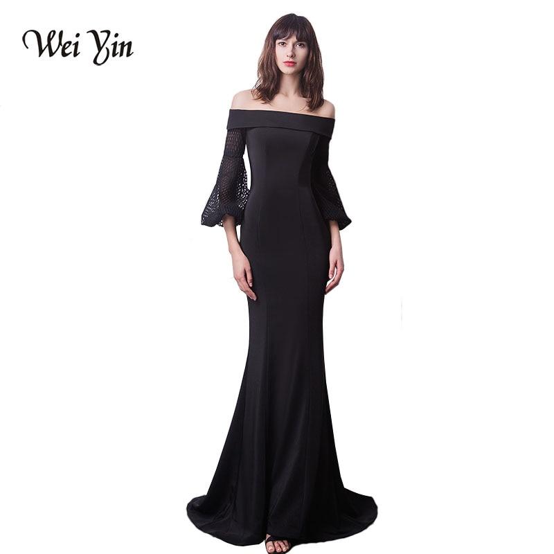 c5cfb6c8622 Weiyin Темно-синие Цветы Кружева Половина рукава Русалка Мусульманское вечернее  платье модные элегантные тюлевые вечерние